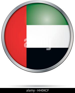 Vector flag Button. United Arab Emirates flag in glass button style with metal frame. - Stock Photo