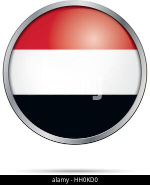 Vector Yemenite flag Button. Yemen flag in glass button style with metal frame. - Stock Photo