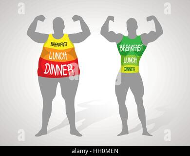Fat and slim concept - Stock Photo