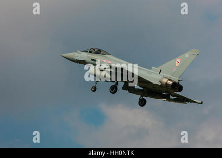 Eurofighter Typhoon FGR4 ZK328 BS 29(R) Squadron landing at RAF Conningsby Airfield - Stock Photo