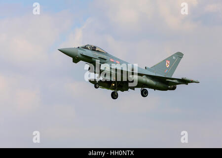 Eurofighter Typhoon FGR4 ZK328 BS 29(R) Squadron on final approach to land at RAF Conningsby - Stock Photo