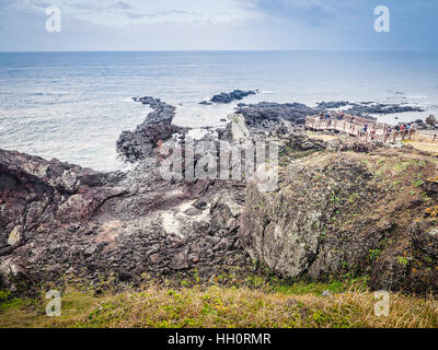 Beautiful landscape view of Seopjikoji, located at the end of the eastern shore of Jeju Island. 'Seopji' is the - Stock Photo