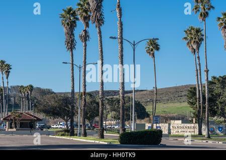 Vandenberg Air Force Base entrance near rocket launch sites. - Stock Photo
