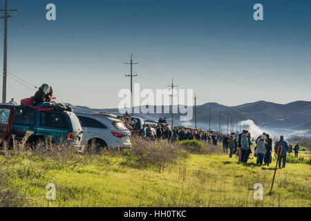 Line of car and people to see Spacex Rocket launch. - Stock Photo