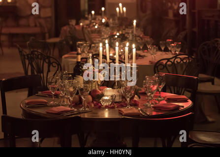 Room ready for a banquet party - Stock Photo