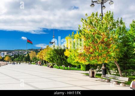 Baku, Azerbaijan - October 2, 2016: Flame towers in the cityscape. Panoramic view of Baku - the capital of Azerbaijan - Stock Photo
