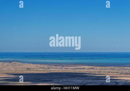 Caspian coast with a lot of oil rigs at sea, Azerbaijan - Stock Photo