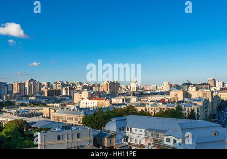 Baku, Azerbaijan - October 2, 2016: Panoramic view of Baku - the capital of Azerbaijan located by the Caspian See - Stock Photo