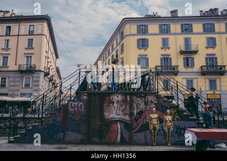 Italy, Lombardy, Milan, Navigli, canal district, - Stock Photo