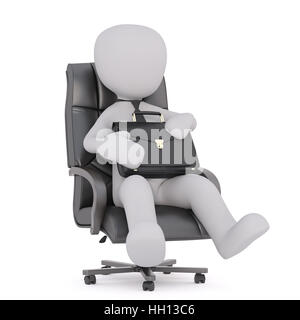 Faceless cartoon man wearing tie sitting in boss office armchair and holding briefcase on his knees, 3D render isolated - Stock Photo