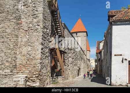 Towers and city wall in the alley Rannemaee tee in the Old Town of Tallinn, Estonia, Baltic States, Europe - Stock Photo
