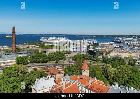 View over the old town of Tallinn to the Baltic Sea and the port of Tallinn, Estonia, Baltic States, Europe - Stock Photo