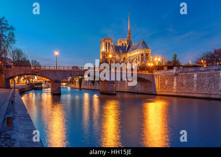 Cathedral of Notre Dame de Paris at night, France - Stock Photo
