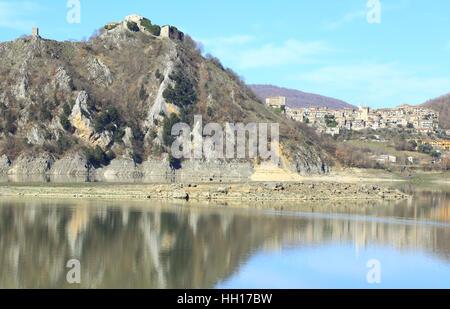 View of lago del Turano in province of Rieti, Lazio, Italy - Stock Photo