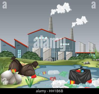 Scene with factory and water pollution illustration - Stock Photo