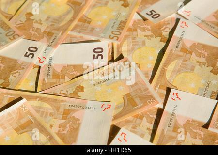 Closeup of the 50 euro banknotes - Stock Photo