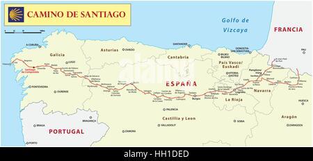 Way of St. James map (Camino de Santiago) - Stock Photo
