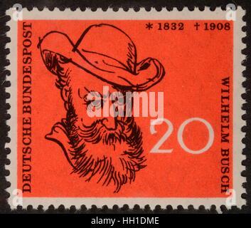 German stamp, FRG, 1958, portrait of Wilhelm Busch, German humorist, poet, illustrator and painter - Stock Photo