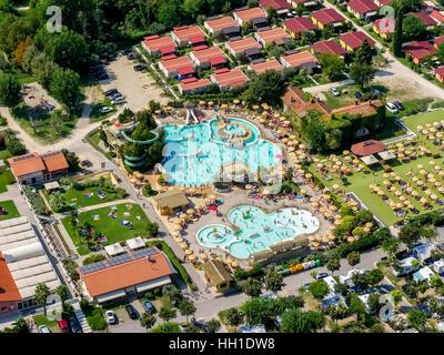 Aerial view of Piani di Clodia Camping, campsite with swimming pool, campers, Lake Garda, Lazise, Veneto, Italy - Stock Photo