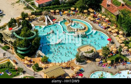 Aerial view of Piani di Clodia Camping, campsite, swimming pool and sun terrace with parasols, campers, Lake Garda, - Stock Photo