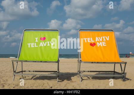 I love Tel Aviv, Tel Aviv loves me, Tel Aviv beach front, Israel - Stock Photo