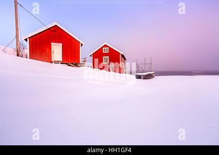 Typical houses of fishermen called Rorbu, Lofoten islands, Norway - Stock Photo