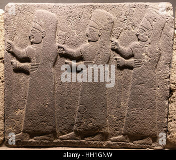 Orthostats of procession in Museum of Anatolian Civilizations, Ankara, Turkey - Stock Photo