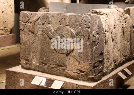 Orthostats of procession in Museum of Anatolian Civilizations, Ankara, Turkey - Stock Photo