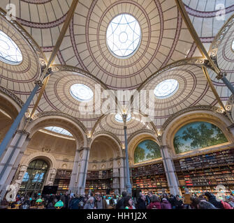 Paris France January 14th 2017 :  Famous Labrouste lecture room in the French National Library rue Vivienne in Paris - Stock Photo