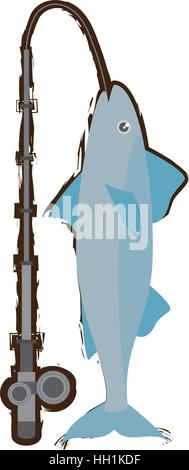 mackerel fish sea life fishing rod - Stock Photo