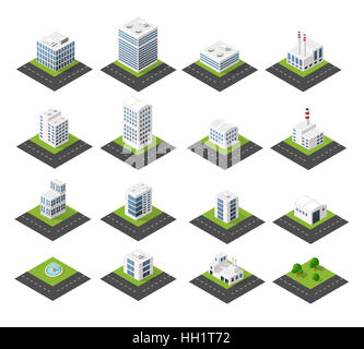 Urban isometric icons for the web with houses and streets - Stock Photo