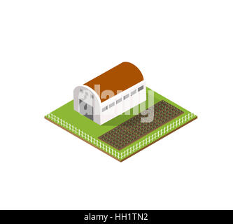 Rural farm in isometric view with trees and garden - Stock Photo