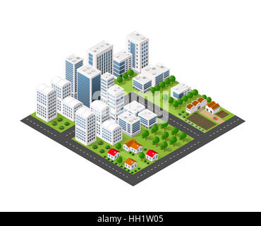 Isometric perspective city with streets, houses, skyscrapers, parks and trees - Stock Photo
