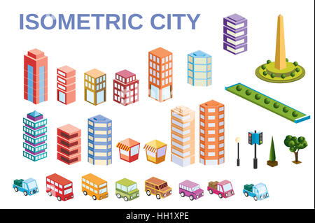 3D kit metropolis of skyscrapers, houses, gardens and streets in a three-dimensional isometric view - Stock Photo
