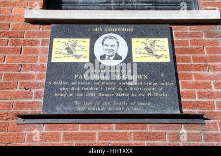 Pat McGeown Memorial Plaque on the Falls Road - Stock Photo