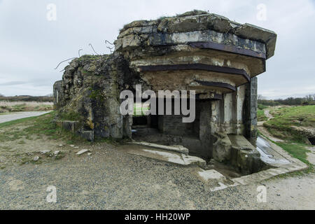 Pointe Du Hoc in Normandy, site of the Ranger invasion during World War II in France - Stock Photo