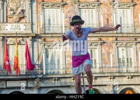Street Entertainer at Plaza Mayor in Madrid, Spain. - Stock Photo