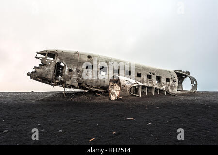 Wreck of a US military plane crashed in Iceland - Stock Photo
