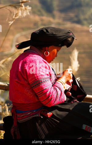Local Village in China, Traditional Longhair women - Stock Photo