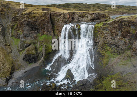 Fagrifoss is waterfall situated in Southeast Iceland near the Lakagígar region. - Stock Photo