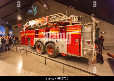 Crushed fire truck, ladder 3, National September 11 Memorial & Museum 9/11, New York City, United States of America. - Stock Photo