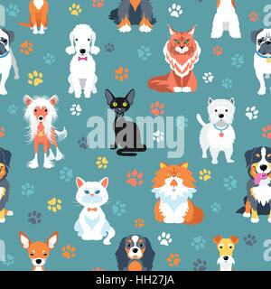 Seamless pattern with cats and dogs flat design - Stock Photo