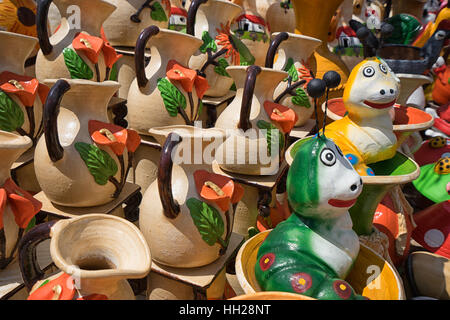 May 16, 2016 Honduras: roadside pottery vendor stands - Stock Photo