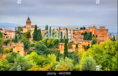 Panorama of the Alhambra, a palace and fortress complex in Granada, Spain - Stock Photo