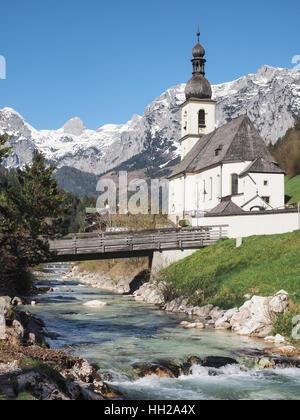 Parish church St. Sebastian in Ramsau, Bavarian Alps, Germany - Stock Photo
