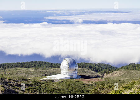 View of The Observatory from Mirador del Roque de Los Muchachos. The highest peak of La Palma, Canary Islands, Spain.