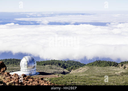 View of The Observatory from Mirador del Roque de Los Muchachos. The highest peak of La Palma in Canary Islands, Spain.