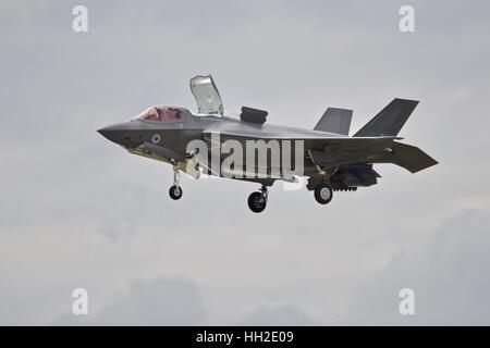US Marine Corps F-35B Lightning ll demonstrating its hovering capabilities - Stock Photo