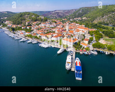 Skradin a small town on river Krka, Dalmatia, Croatia - Stock Photo