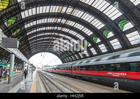 Highspeed train in Milan Central Railway Station (Milano Centrale), Italy - Stock Photo